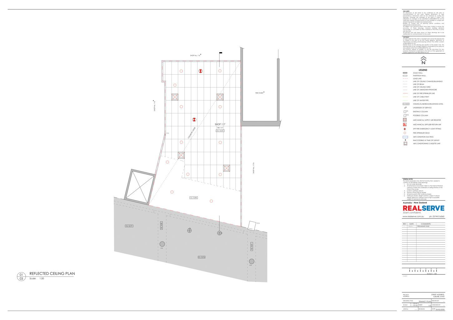 REALSERVE GENERAL TENANCY PLAN WITH REFLECTED CEILING PLAN SAMPLE OF A COMMERCIAL PROPERTY