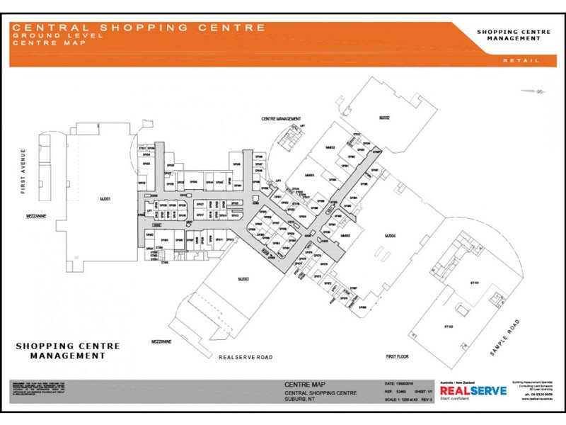 REALSERVE RETAIL TENANCY PLAN SAMPLE OF A SHOPPING CENTRE MAP