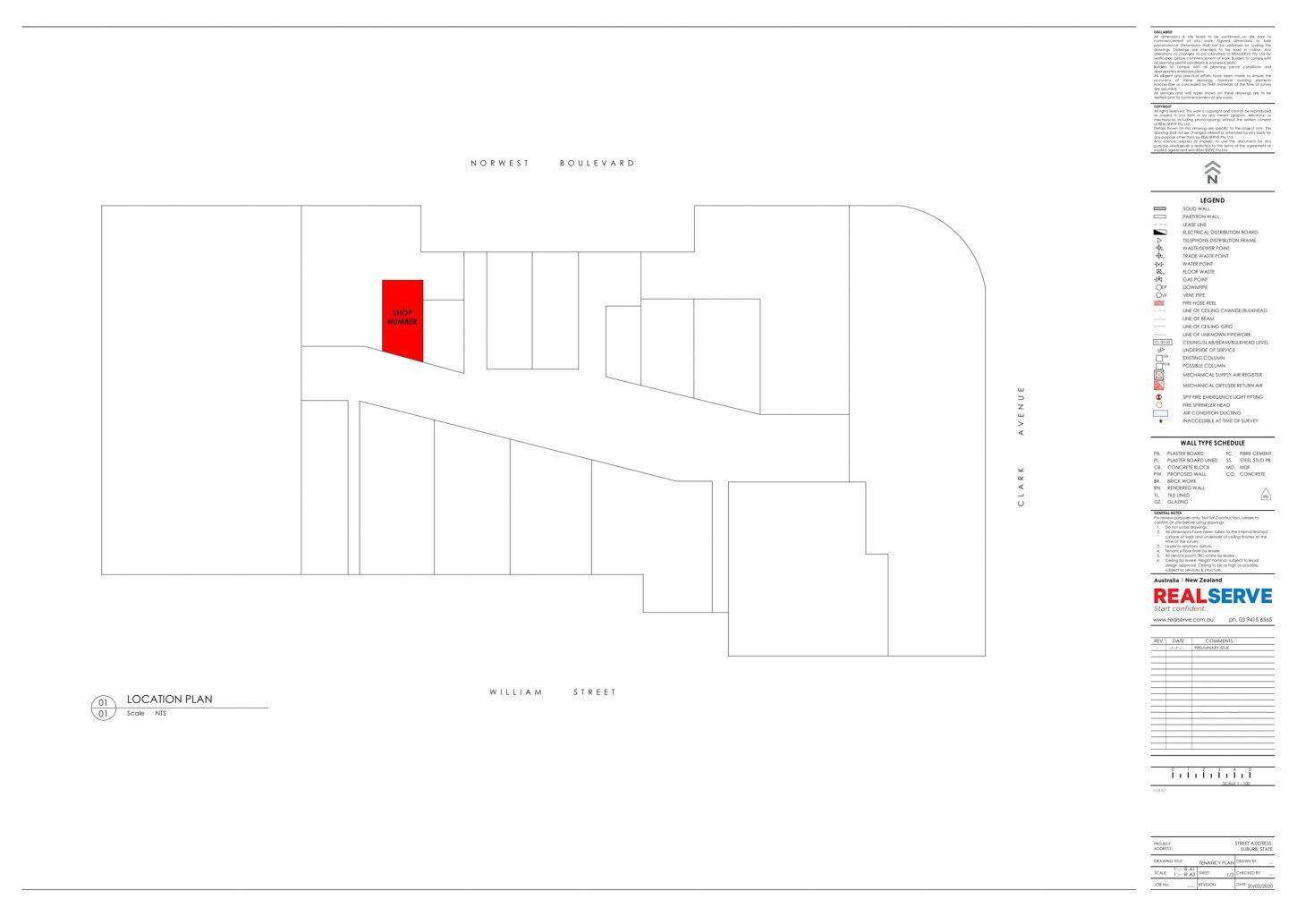 REALSERVE RETAIL TENANCY LOCATION PLAN SAMPLE OF PROPERTY