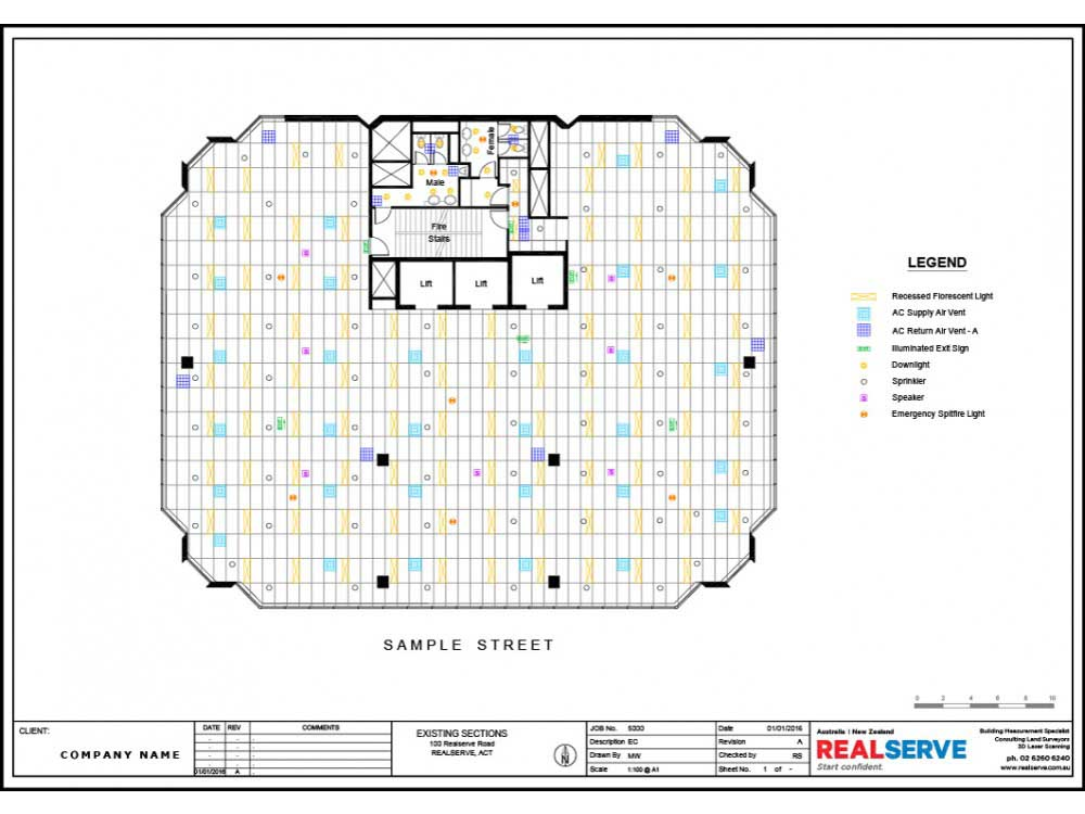 A SAMPLE OF A REFLECTED CEILING PLAN FOR A COMMERCIAL PROPERTY BY REALSERVE