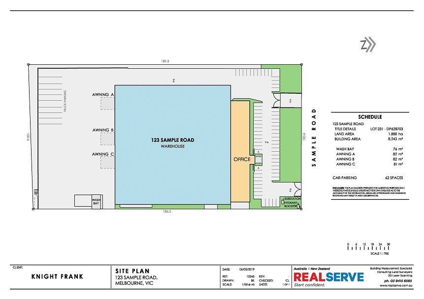 REALSERVE SITE PLAN EXAMPLE OF AN INDUSTRIAL PROPERTY WITH CAR PARKING