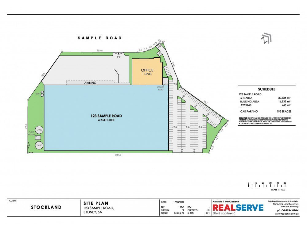 SITE PLAN SAMPLE FROM REALSERVE FOR A COMMERCIAL PROPERTY WITH CAR PARK