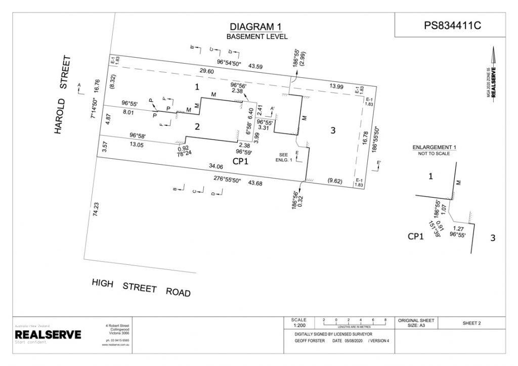 Victorian Plan of Subdivision basement level sample from Realserve Victorian Surveyor Service