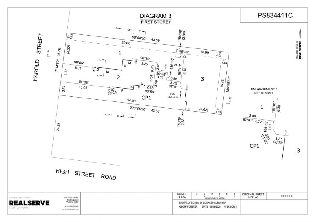 Victorian Plan of Subdivision first storey sample from Realserve Victorian Surveyor Service
