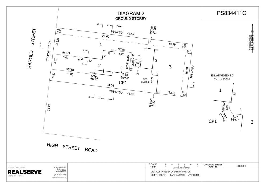 Victorian Plan of Subdivision ground storey sample from Realserve Victorian Surveyor Service